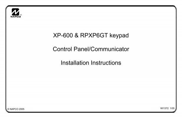 xp 600 rpxp6gt keypad control panel communicator napco rh yumpu com Napco GEM User Manual napco 3200 programming manual
