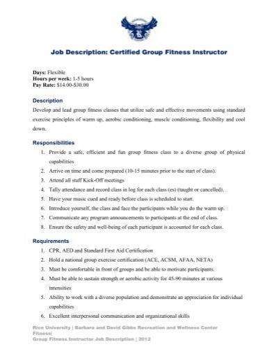 Group Exercise Instructor Job Description