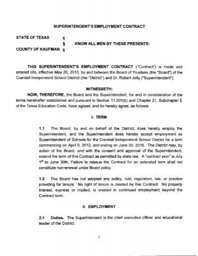 SuperintendentS Contract  Crandall Texas Isd