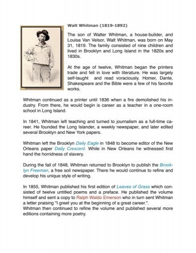 The son of walter whitman a house builder and louisa van velsor the son of walter whitman a house builder and louisa van velsor m4hsunfo