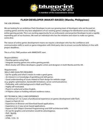 Flash developer makati based manila blueprint gaming malvernweather Image collections