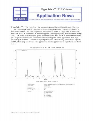 "HyperSelectâ""¢ HPLC Columns - ES Industries"