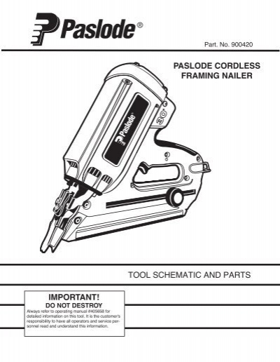 Tool Schematic And Parts Important Paslode Cordless
