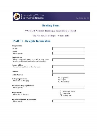Printable booking form pdf Networking Women in the Fire Service – Fire Service Application Form