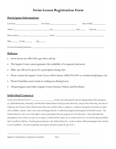 Swim Lesson Registration Form Student Union Inc San Jose