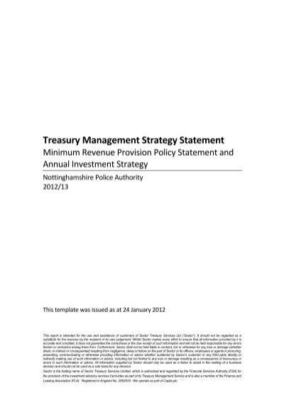 treasury management strategy statement nottinghamshire police