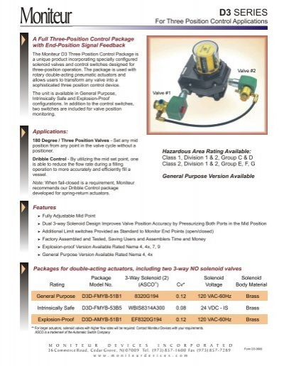 D3 Three Position Package - Moniteur Devices, Inc