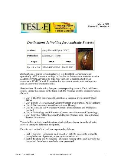 TESL EJ 11 4 Destinations 1 Writing For Academic Success