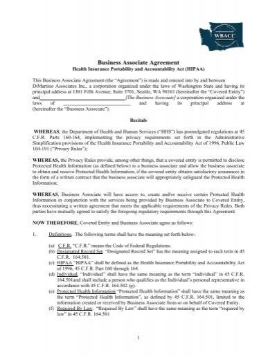 Hipaa Business AgreementPdf  Wbacc Trust