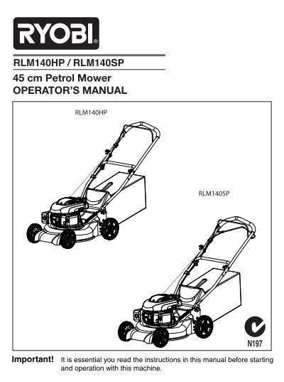 45 Cm Petrol Mower Operator S Manual Rlm140hp Ryobi