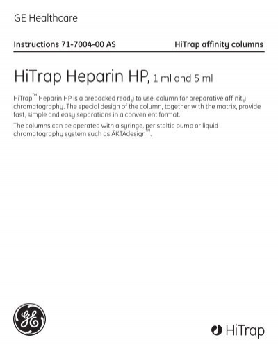 Hitrap Heparin Hp1 Ml And 5 Ml Ge Healthcare Life Sciences