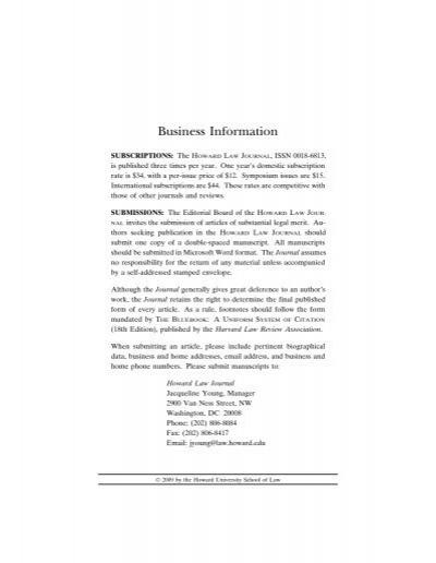 Vol 53 Issue 1 Howard University School of Law