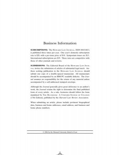 Vol.47, Issue 3 Howard University School of Law