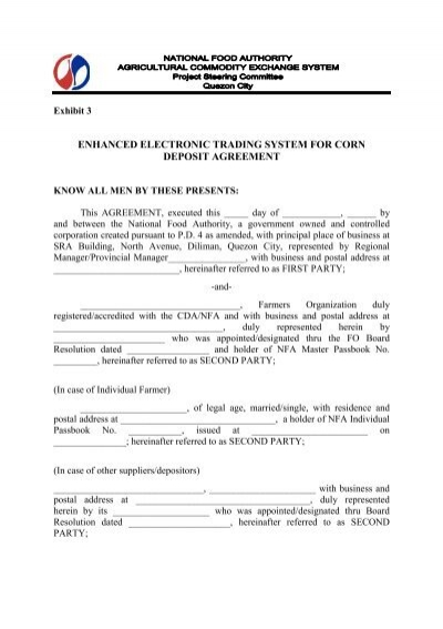 Deposit Agreement Form Samannetonic