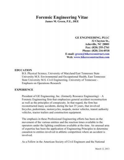 Forensic Engineering Vitae Green Engineering Inc