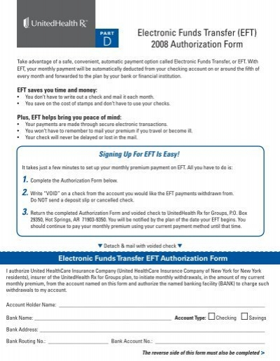 Electronic Funds Transfer (EFT) 2008 Authorization Form