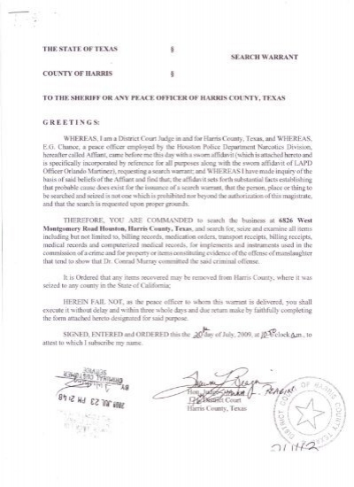 THE STATE OF TEXAS SEARCH WARRANT TO THE