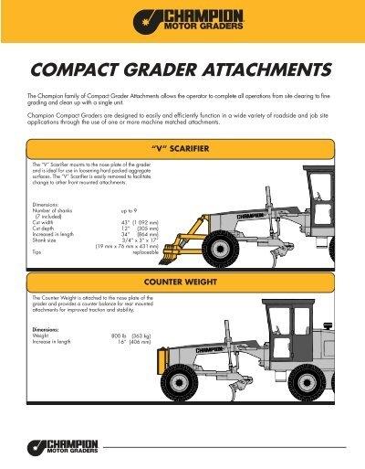 Compact Grader Attachments Champion Motor Graders