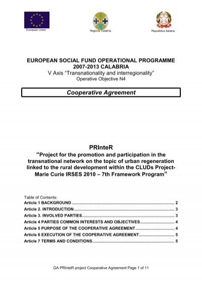 Project Objectives Cooperative Agreement Cluds Universit