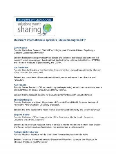 Overzicht Internationale Sprekers Jubileumcongres Efp