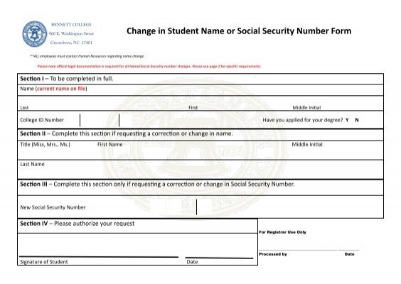Change Of Name And Id Form  Bennett College