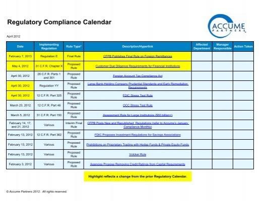 Regulatory Compliance Calendar - Accume Partners