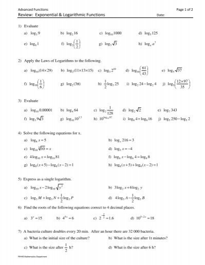 Worksheets On Exponential And Log Functions - worksheets on ...