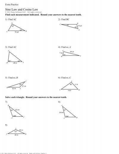 Extra Practice - Sine Law and Cosine Law.pdf - RHHS - Math