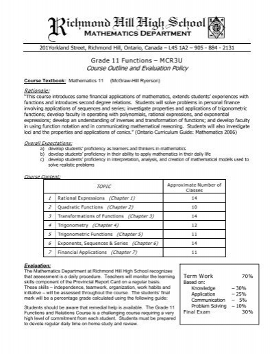 Course Outline and Evaluation Policy - RHHS - Math