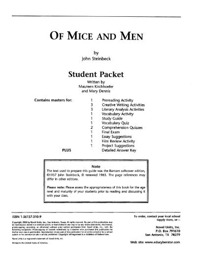 Of Mice And Men  Populationmecom Of Mice And Men  Redwood High School Student Packet  Populationmecom Business Plan Writers In Fayetteville Nc also Sample Narrative Essay High School  High School Scholarship Essay Examples