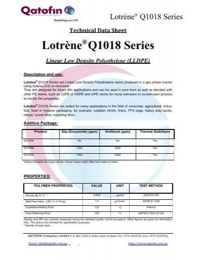 Lotrène Q1018 Series - b2bPolymers com
