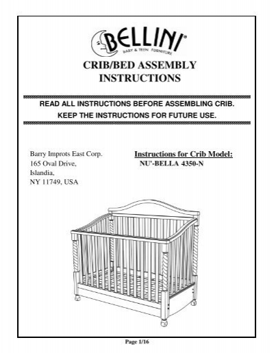 Crib  Bed Assembly Instructions