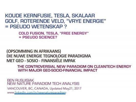 Koude Kernfusie Tesla Skalaar Golf Roterende Veld Vrye Energie