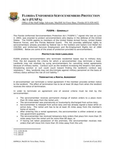 Florida Uniformed Servicemembers Protection Act Macdill Air