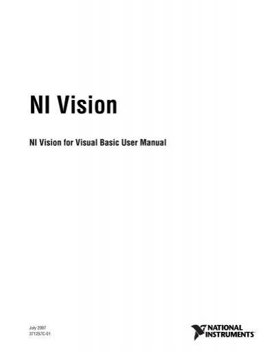 ni vision for visual basic user manual national instruments rh yumpu com ni vision builder user manual ni vision labview user manual