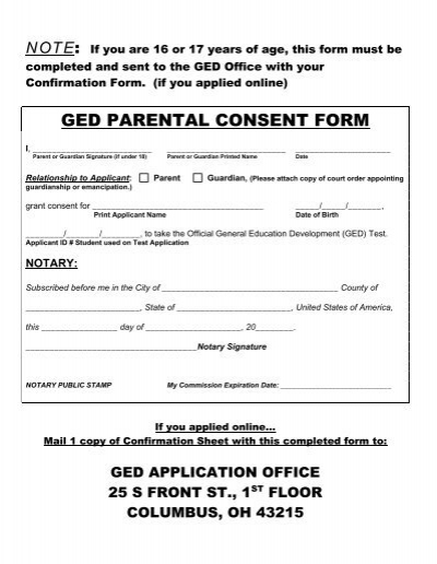 Ged parental consent form ohio department of education thecheapjerseys Gallery