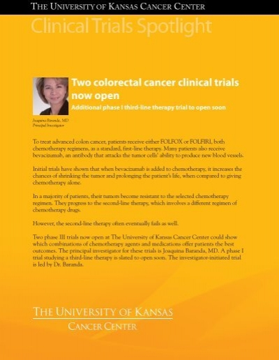 Colorectal Cancer Clinical Trials Spotlight The University Of