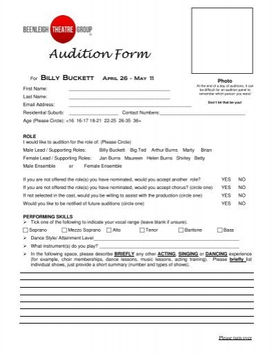 Audition Form  Beenleigh Theatre Group