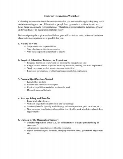Occupational Exploration Worksheet College Paper Help