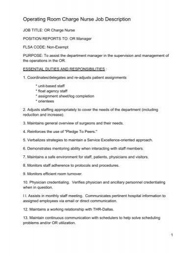 JOB DESCRIPTION Registered Nurse 06 FTE South East – Nurse Job Description