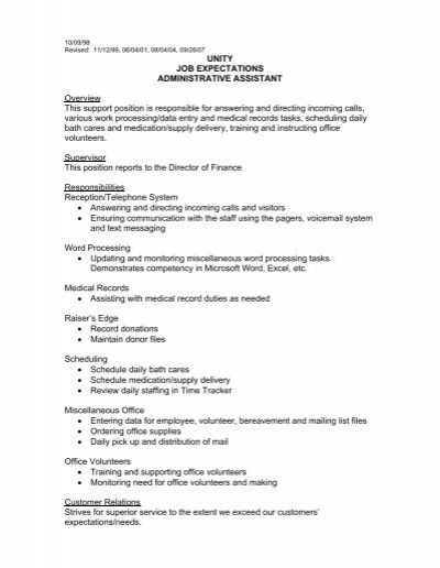 unity job expectations administrative assistant - Job Description Of Business Administration