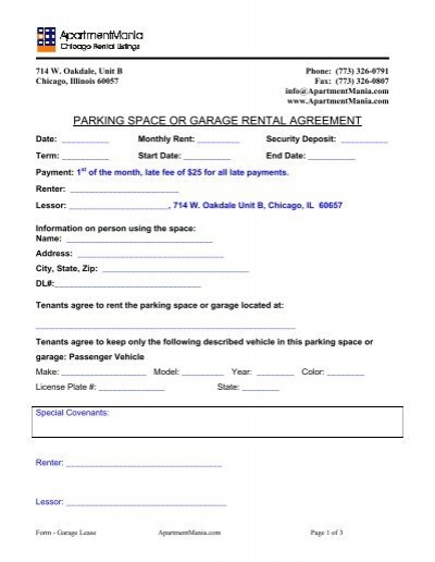 Parking Space Or Garage Rental Agreement Propertyware