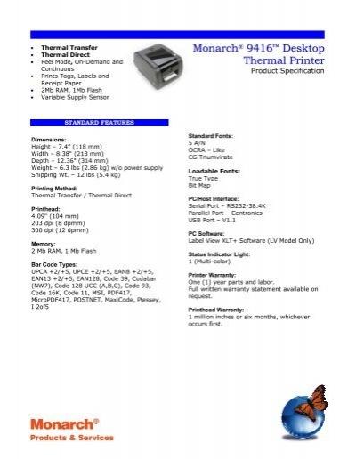 Monarch ® 9416 ™ Desktop Thermal Printer - Gomaro