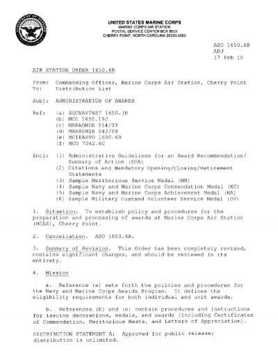 Aso 1650 6b Adj 17 Feb 10 Air Station Order 1650 6b From