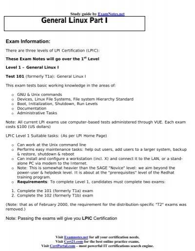 LINUX LPI 101 Exam Notes
