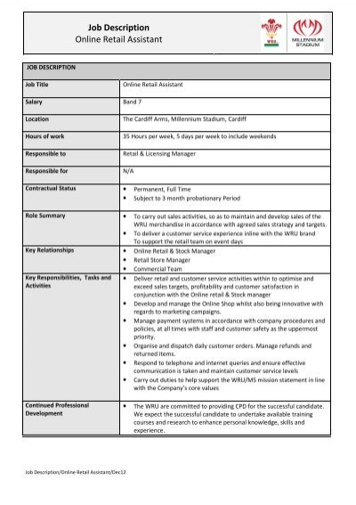 job description for shop assistant