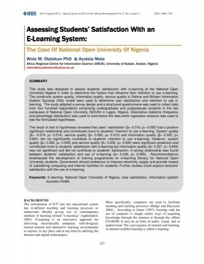 assessment of students satisfaction on the