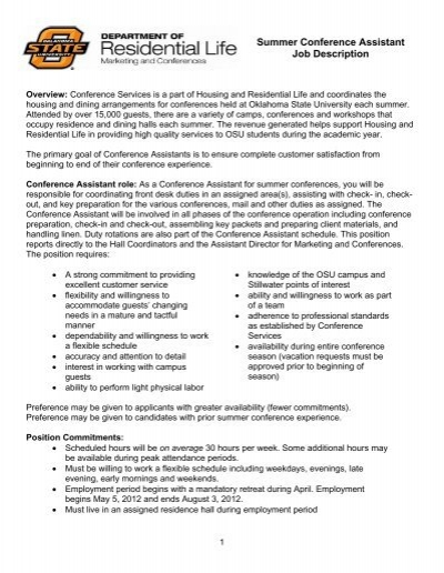 Summer Conference Assistant Job Description - OSU
