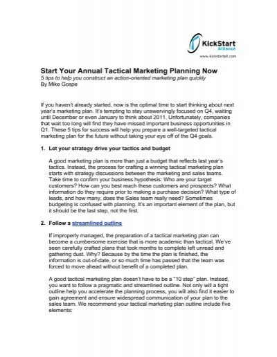 start your annual tactical marketing planning now kickstart alliance