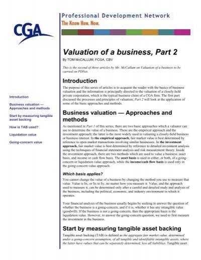 Valuation Of A Business Part 2 Pd Net